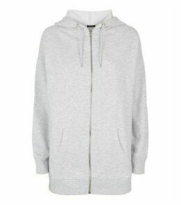 Grey Zip Up Longline Hoodie New Look