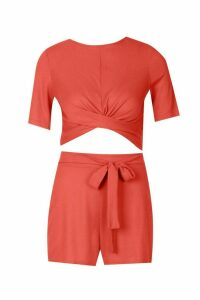 Womens Twist Front Rib Top & Belted Shorts Co-Ord - orange - 12, Orange