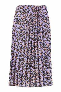 Womens Leopard Print Pleated Midi Skirt - purple - 14, Purple