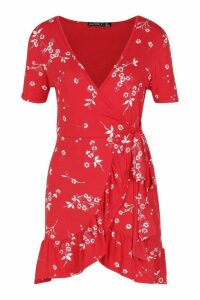 Womens Petite Floral Wrap Frill Hem Dress - red - 8, Red
