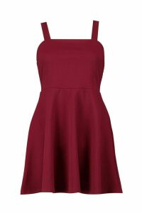Womens Petite Mckayla Square Neck Strappy Skater Dress - red - 4, Red