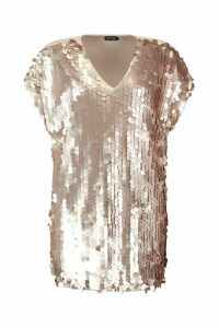 Womens Plus Sequin Disk Shift Dress - metallics - 20, Metallics