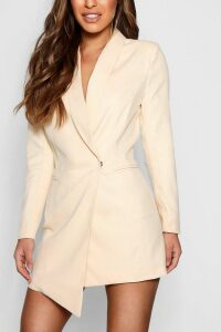 Womens Petite Asymmetric Blazer Dress - Beige - 14, Beige