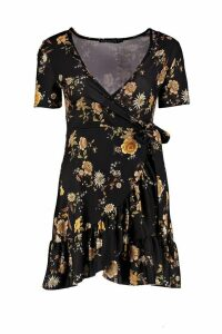 Womens Petite Floral Tea Dress - black - 12, Black