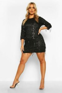 Womens Plus Tassel Sequin Shift Dress - black - 20, Black