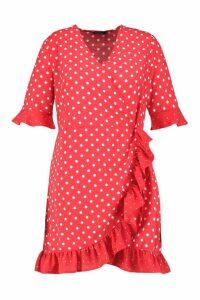 Womens Plus Contrast Spot Ruffle Tea Dress - red - 24, Red
