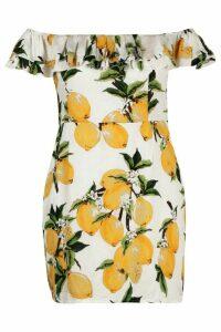 Womens Plus Lemon Print Off Shoulder Dress - white - 18, White