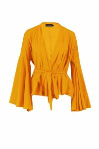 Womens Petite Extreme Sleeve Wrap Front Top - yellow - 10, Yellow
