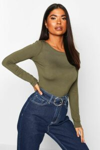 Womens Petite Basic Long Sleeve Top - green - 14, Green