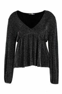 Womens Plus Scarlett Metallic Plunge Long Sleeve Top - grey - 20, Grey