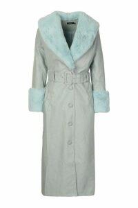 Womens Faux Fur Trim Pu Trench Coat - green - 12, Green
