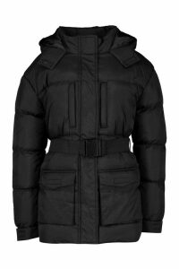 Womens Belted Pocket Detail Padded Coat - black - 16, Black