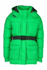 Womens Belted Pocket Detail Padded Coat - green - 16, Green