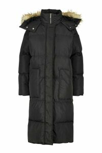 Womens Panelled Faux Fur Hood Padded Coat - black - 16, Black