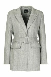 Womens Herringbone Wool Look Belted Jacket - brown - 16, Brown