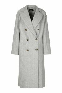 Womens Herringbone Wool Look Button Through Coat - brown - 14, Brown