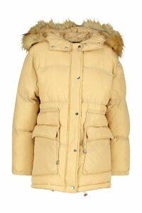 Womens Drawcord Waist Faux Fur Hooded Puffer - beige - 16, Beige