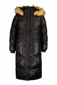 Womens Longline Cire Faux Fur Trim Puffer - black - 16, Black