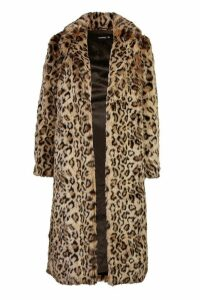Womens Leopard Faux Fur Longline Coat - brown - 16, Brown