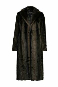 Womens Longline Vintage Faux Fur Coat - brown - 16, Brown