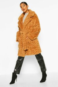 Womens Textured Faux Fur Belted Coat - beige - 16, Beige