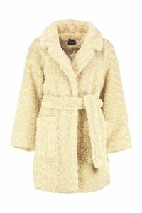 Womens Textured Faux Fur Belted Coat - white - 10, White