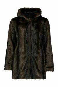 Womens Vintage Style Faux Fur Hooded Coat - brown - 16, Brown