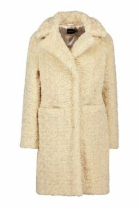 Womens Textured Faux Fur Collared Coat - white - 16, White