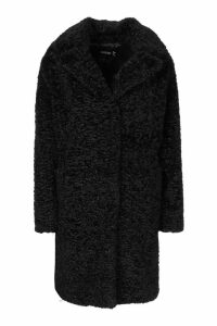 Womens Textured Faux Fur Collared Coat - black - 16, Black