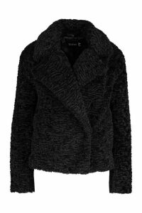 Womens Premium Textured Collared Faux Fur Coat - black - 16, Black