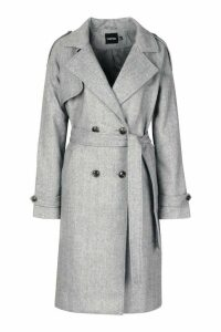 Womens Herringbone Wool Look Trench - grey - 16, Grey