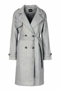 Womens Herringbone Wool Look Trench - grey - 16, Grey