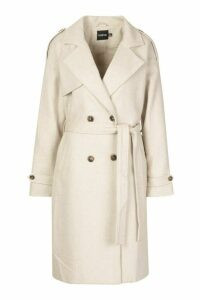 Womens Herringbone Wool Look Trench - white - 16, White