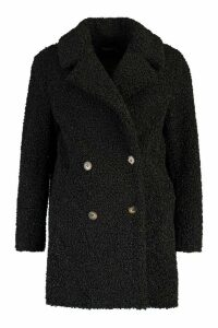 Womens Double Breasted Bonded Faux Fur Teddy Coat - black - 16, Black