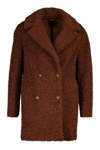 Womens Double Breasted Bonded Faux Fur Teddy Coat - brown - 16, Brown