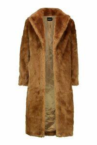 Womens Luxe Faux Fur Longline Coat - beige - 16, Beige