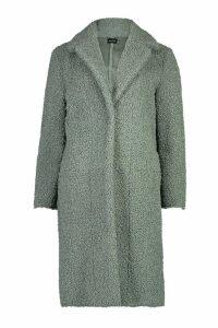 Womens Bonded Teddy Faux Fur Longline Coat - green - 16, Green
