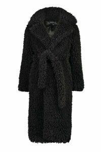 Womens Curly Faux Fur Belted Longline Coat - black - 16, Black