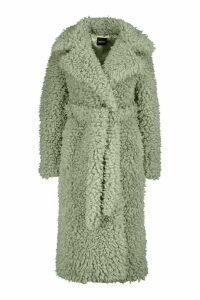 Womens Curly Faux Fur Belted Longline Coat - green - 16, Green