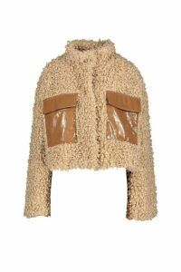 Womens Premium Cropped Curly Faux Fur Jacket - Brown - 16, Brown