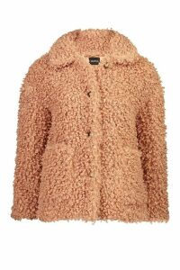 Womens Premium Button Through Curly Teddy Faux Fur Jacket - pink - 16, Pink