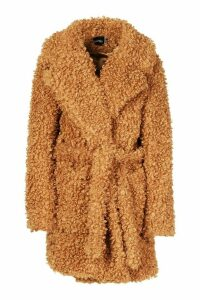 Womens Premium Teddy Belted Faux Fur Coat - beige - 16, Beige