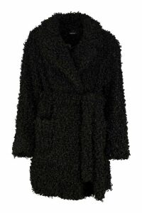 Womens Premium Curly Teddy Belted Faux Fur Coat - black - 16, Black