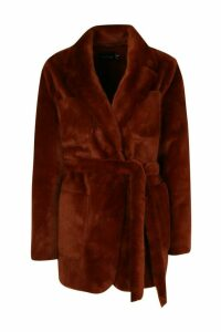 Womens Faux Suede Lined Faux Fur Belted Wrap Coat - brown - 16, Brown