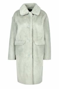 Womens Faux Suede Lined Button Through Faux Fur Coat - green - 16, Green