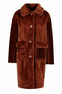 Womens Faux Suede Lined Button Through Faux Fur Coat - brown - 16, Brown
