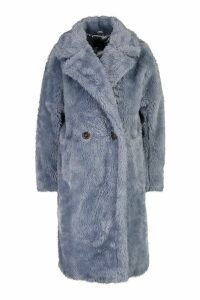 Womens Oversized Teddy Faux Fur Coat - blue - 16, Blue