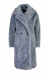 Womens Oversized Teddy Faux Fur Coat - blue - 14, Blue