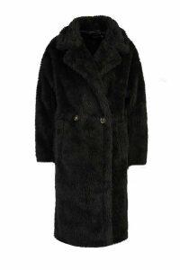 Womens Oversized Teddy Faux Fur Coat - black - 16, Black