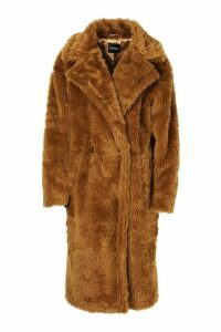 Womens Oversized Teddy Faux Fur Coat - brown - 16, Brown